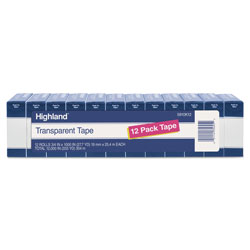Highland Transparent Tape, 1 in Core, 0.75 in x 83.33 ft, Clear, 12/Pack