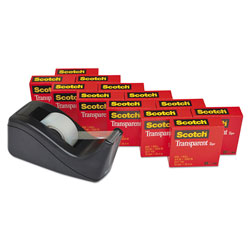 Scotch™ Transparent Tape Value Pack with Black Dispenser, 1 in Core, 0.75 in x 83.33 ft, Transparent