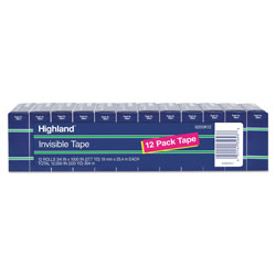 Highland Invisible Permanent Mending Tape, 1 in Core, 0.75 in x 83.33 ft, Clear, 12/Pack