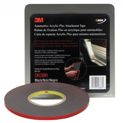 3M Automotive Acrylic Plus Attachment Tape, Black, 1/4 in x 20 yds.