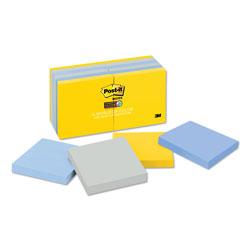 Post-it® Pads in New York Colors Notes, 3 x 3, 90-Sheets/Pad, 12 Pads/Pack