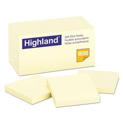 Highland Self-Stick Notes, 3 x 3, Yellow, 100-Sheet, 18/Pack