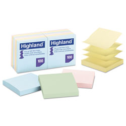 Highland Self-Stick Pop-Up Notes, 3 x 3, Assorted Pastel, 100-Sheet, 12/Pack