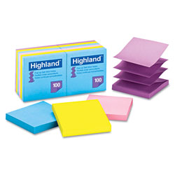 Highland Self-Stick Pop-Up Notes, 3 x 3, Assorted Bright, 100-Sheet, 12/Pack