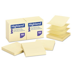Highland Self-Stick Pop-Up Notes, 3 x 3, Yellow, 100-Sheet, 12/PK