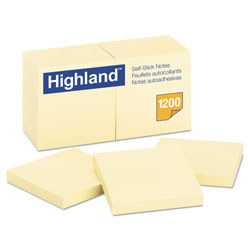 Highland Self-Stick Notes, 3 x 3, Yellow, 100-Sheet, 12/Pack