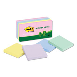 Post-it® Recycled Note Pads, 3 x 3, Assorted Helsinki Colors, 100-Sheet, 12/Pack