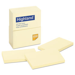 Highland Self-Stick Notes, 3 x 5, Yellow, 100-Sheet, 12/Pack