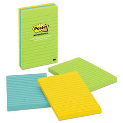 Post-it® Original Pads in Jaipur Colors, Lined, 4 x 6, 100-Sheet, 3/Pack