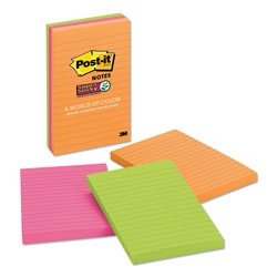 Post-it® Pads in Rio de Janeiro Colors, Lined, 4 x 6, 90-Sheet Pads, 3/Pack