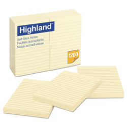 Highland Self-Stick Notes, 4 x 6, Yellow, 100-Sheet