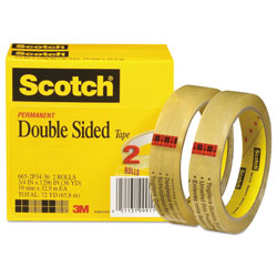 Scotch™ Double-Sided Tape, 3 in Core, 0.75 in x 36 yds, Clear, 2/Pack
