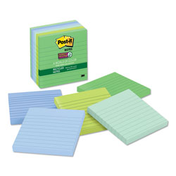 Post-it® Recycled Notes in Bora Bora Colors, Lined, 4 x 4, 90-Sheet, 6/Pack
