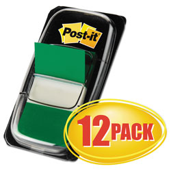 Post-it® Marking Page Flags in Dispensers, Green, 50 Flags/Dispenser, 12 Dispensers/Pack