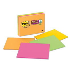 Post-it® Super Sticky Meeting Notes in Rio de Janeiro Colors, 8 x 6, 45-Sheet, 4/Pack
