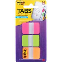 3M Durable Filing Tabs with Dispenser, Pink/Orange/Green