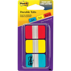 """3M Durable Index Tabs, 1"""" x 1-1/2"""" 36 Tabs/PK, Red/Blue/Yellow"""