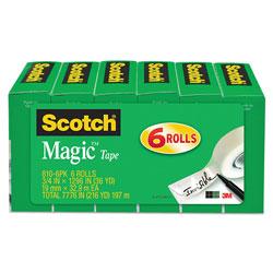 Scotch™ Magic Tape Refill, 1 in Core, 0.75 in x 36 yds, Clear, 6/Pack