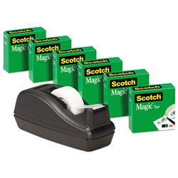 Scotch™ Magic Tape Desktop Dispenser Value Pack, 1 in Core, 0.75 in x 83.33 ft, Clear