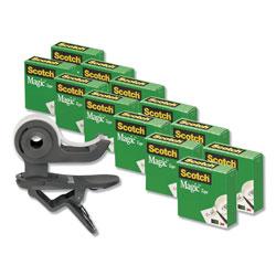 Scotch™ Clip Dispenser Value Pack, 1 in Core, Charcoal, Plus 12 Tape Rolls 3/4 in x 1000 in