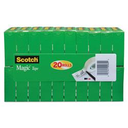 Scotch™ Magic Tape Value Pack, 1 in Core, 0.75 in x 83.33 ft, Clear, 20/Pack