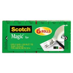 Scotch™ Magic Tape Refill, 1 in Core, 0.75 in x 83.33 ft, Clear, 6/Pack