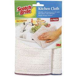 Scotch Brite® Kitchen Cleaning Cloth, Microfiber, White, 2/Pack, 12 Packs/Carton