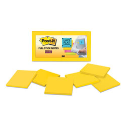 Post-it® Full Stick Notes, 3 x 3, Electric Yellow, 25 Sheets/Pad, 12/Pack