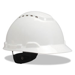 3M H-700 Series Hard Hat with Four Point Ratchet Suspension, Vented, White