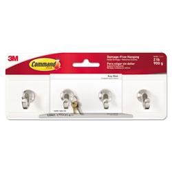 Command® Decorative Key Rail, 8w x 1 1/2d x 2 1/8h White/Silver, 4 Hooks/Pack