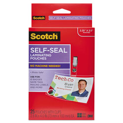Scotch™ Self-Sealing Laminating Pouches, 12.5 mil, 2.31 in x 4.06 in, Gloss Clear, 25/Pack