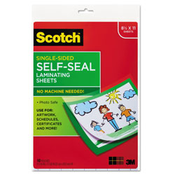 Scotch™ Self-Sealing Laminating Sheets, 6 mil, 9.06 in x 11.63 in, Gloss Clear, 10/Pack