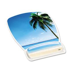 3M Fun Design Clear Gel Mouse Pad Wrist Rest, 6 4/5 x 8 3/5 x 3/4, Beach Design