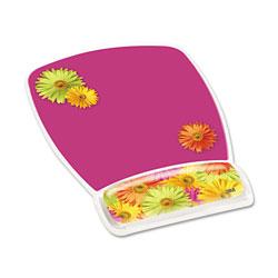 3M Fun Design Clear Gel Mouse Pad Wrist Rest, 6 4/5 x 8 3/5 x 3/4, Daisy Design