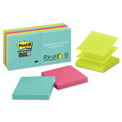 Post-it® Pop-up 3 x 3 Note Refill, Miami, 90 Notes/Pad, 10 Pads/Pack