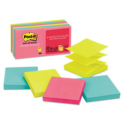 Post-it® Original Pop-up Refill, 3 x 3, Assorted Cape Town Colors, 100-Sheet, 12/Pack