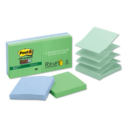 Post-it® Pop-up Recycled Notes in Bora Bora Colors, 3 x 3, 90-Sheet, 6/Pack