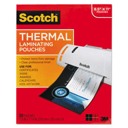 Scotch™ Laminating Pouches, 3 mil, 9 in x 11.5 in, Gloss Clear, 50/Pack