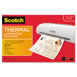 Scotch™ Laminating Pouches, 3 mil, 11.5 in x 17.5 in, Gloss Clear, 25/Pack