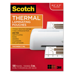 Scotch™ Laminating Pouches, 5 mil, 9 in x 11.5 in, Gloss Clear, 100/Pack