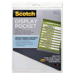 Scotch™ Display Pocket, Removable Interlocking Fasteners, Plastic, 8-1/2 x 11, Clear