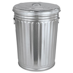 Magnolia Brush Pre-Galvanized Trash Can with Lid, Round, Steel, 20 gal, Gray