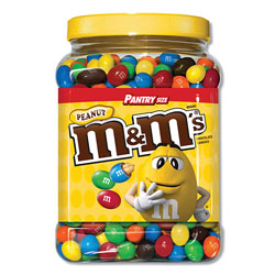 M & M's Milk Chocolate Coated Candy with Peanut Center, 62 oz Tub