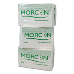 Morcon Paper Morsoft Beverage Napkins, 9 x 9/4, White, 500/Pack, 8 Packs/Carton