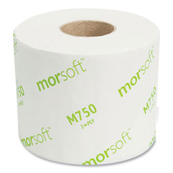 Morcon Paper Morsoft Controlled Bath Tissue, Septic Safe, 2-Ply, White, 3.9 in x 4 in, 750 Sheets/Roll, 36 Rolls/Carton