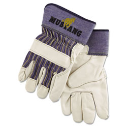 MCR Safety Mustang Leather Palm Gloves, Blue/Cream, X-Large, Dozen