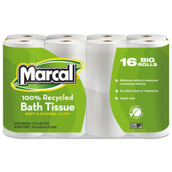 Marcal 100% Recycled Two-Ply Bath Tissue, Septic Safe, 2-Ply, White, 168 Sheets/Roll, 16 Rolls/Pack