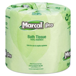 Marcal 100% Recycled Bathroom Tissue, Septic Safe, 2-Ply, White, 242 Sheets/Roll, 48 Rolls/Carton