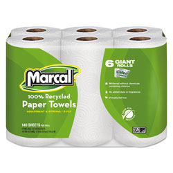 Marcal 100% Recycled Roll Towels, 2-Ply, 5 1/2 x 11, 140/Roll, 24 Rolls/Carton
