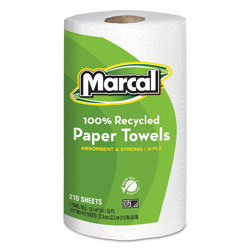 Marcal 100% Recycled Roll Towels, 2-Ply, 8.8 x 11, 210 Sheets, 12 Rolls/Carton